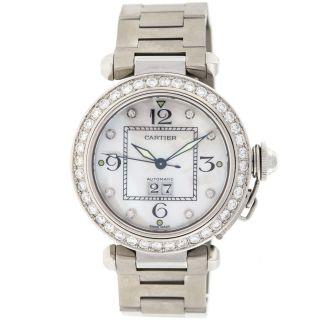 Cartier Pasha C Edelstahl Perle Diamant Automatische Uhr 35 M Mittelgross Bild