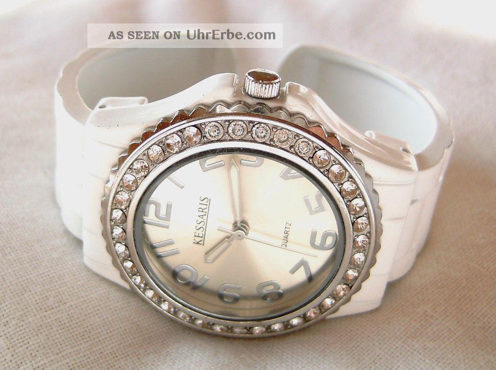 Kessaris Damen Spangenuhr Uhr Weiss Mit Strass Armbanduhren Bild
