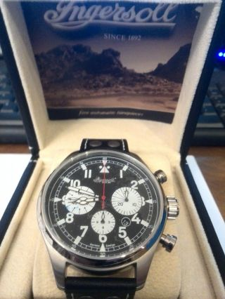 Ingersoll Uhr Herrenuhr Vicksburg Chrono Ref: In 6104 Bk Mit Box,  Papiere Bild