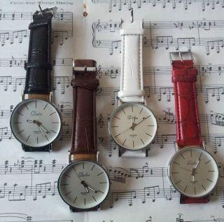 Dalas Elegante Leder Quarzuhr Damen Herren Analog Armband Uhr Pu Leder Bild