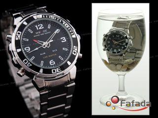 Weide Schwarz Led Uhr Herrenuhr Analog Digital Dual Bild