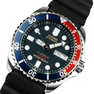 Nagelneu Citizen Ny2300 - 09l Pepsi Style Diver ' S 200m Automatik Armbanduhr Top Bild