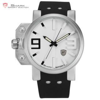 Mode Shark Herrenuhr Quarz Quarzuhr Gummi Analog Armbanduhr Weiß Schwarz - V Bild