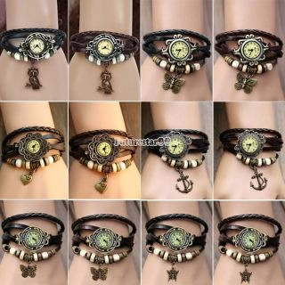 Frauen Schmetterling Anchor Eulen - Herz Wrap Quarz - Leder - Armbanduhr Armband Ft Bild