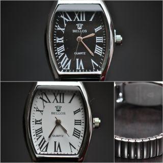 Klassische Damenuhr Uhr Römische Zahlen Elastisches Band Schwarz Weiss Silber Bild