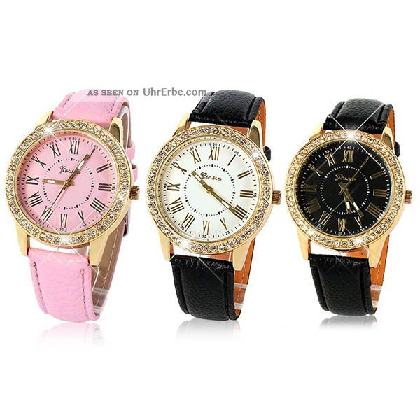 Neue Genfer Frauen Kunstleder Bling Kristall Analoge Quarz - Armbanduhr Armbanduhren Bild