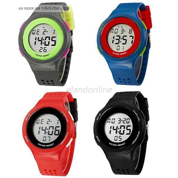 Unisex Junge Mädchen Waterproof Stahl Sport Elektronische Armbanduhr Loch Armbanduhren Bild