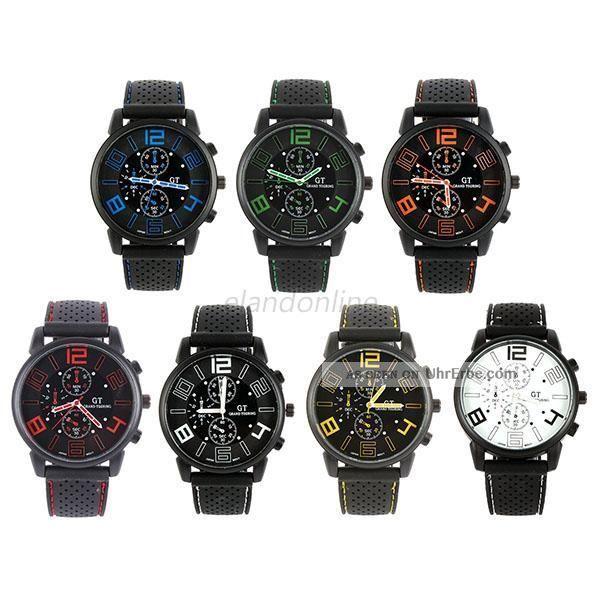 Herren Schwarz Stilvolle Silikon Edelstahl - Quarz - Sport - Armbanduhr - Armbanduhren Bild