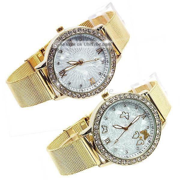 Mädchenfrauen Kristall Shiny Gold Schmetterling Quarz - Armbanduhr Armbanduhren Bild
