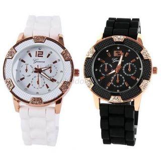 Frauen Strass Jelly Kristall - Silikon - Gummi - Handgelenk - Sport - Uhr Armband J70 Bild