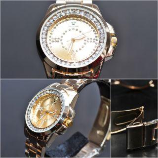 Faiberspace Damenuhr Damen Strass Uhr Armbanduhr Gold Metall Ohne Ziffern Bild