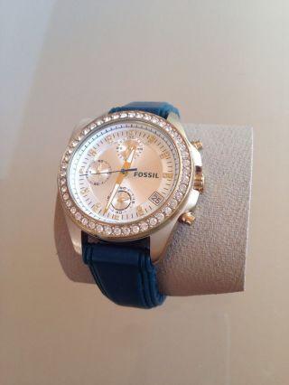 Fossil Damenuhr Damen Armbanduhr Analog Es2965 Chronograph Mit Strass Gold Bild