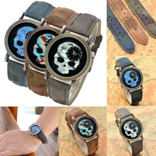 Vintage Pu Leder Armbanduhr Tarnung Schädel Quarzuhr Analog Wrist Quartz Watch Bild
