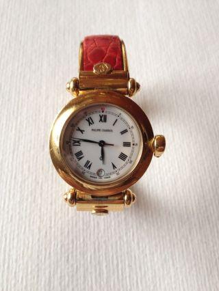 Philippe Charriol Uhr Damen - Spangenuhr Vergoldet Ledereinlage Rot Und Schwarz Bild