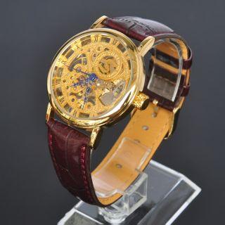 Soki Golden Skelett Mechanische Handaufzug Analog Herren Braun Leder Armband Uhr Bild