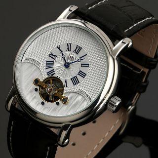 Design Weiß Lederarmband Automatik Tourbillon Mechanisch Männer Armbanduhr Bild