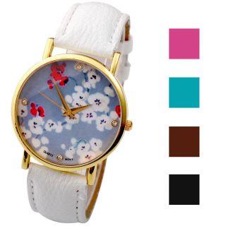 Vintage Retro Blume Damen Armbanduhr Basel - Stil Quarzuhr Lederarmband Uhr Bild