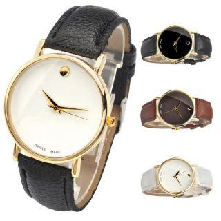 Business Herren Damen Uhr Armbnaduhr Lederarmband Quarzuhr Geschenk Bild