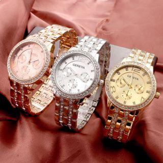 Luxus Geneva Bling Strass Armbanduhr Unisex Analog Quarzuhr Herrenuhr Damenuhr Bild