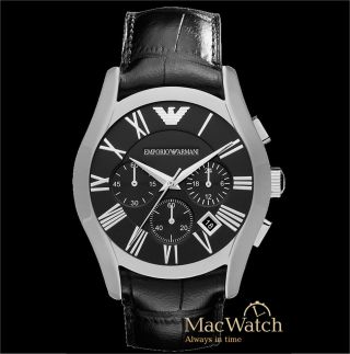 Emporio Armani Herren Uhr Ar1633 Leder Schwarz Chronograph Ovp Bild