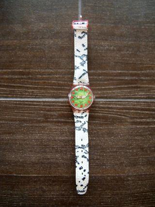 Swatch Uhr Damen GrÜn Rot Armband Leder Snake Print Bild