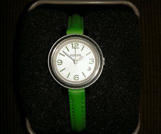 Fossil Uhr Damenuhr Heather Es3303 Lederband Grün Datumanzeige Bild