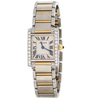 Cartier Tank 1.  50ct Diamant Einfassung Stahl 18k Gelbgold Damen Armbanduhr Bild