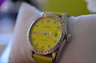 Rolex Oysterdate Precision Diamanten Uhr Watch Oyster Neon Gelb Grün Datejust Bild