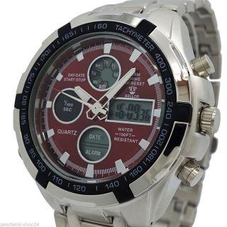 Herren Armband Uhr Silber Alarm Wasserdicht Led Digital Stoppuhr Quarz Mode Bild