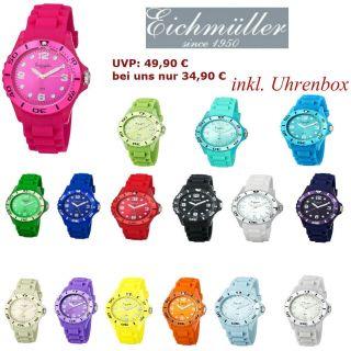 Eichmüller Uhr Herren Damen Unisex Silikonuhr Watch Color Sport Armbanduhr Bunt Bild