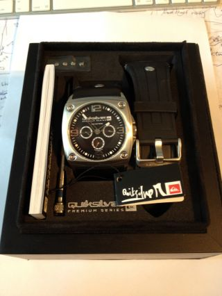 Quiksilver Uhr Leder/gummi Armband Schw.  The Lunada Neuw. ,  Gratis Mp4 Player Bild