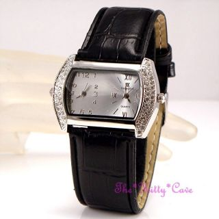 Silber & Schwarze Designer Damen Uhr Mit Swarovski Kristallen Doppel Zeit Bild