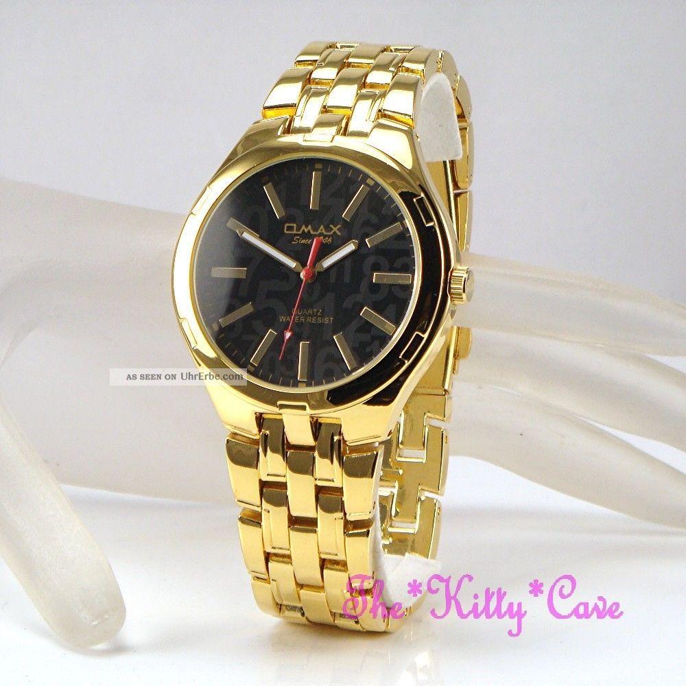 Armbanduhr Omax Seiko Movt Schwartz & Gold Farbe Wasserfest Pl Slim Steel Hbk821 Armbanduhren Bild