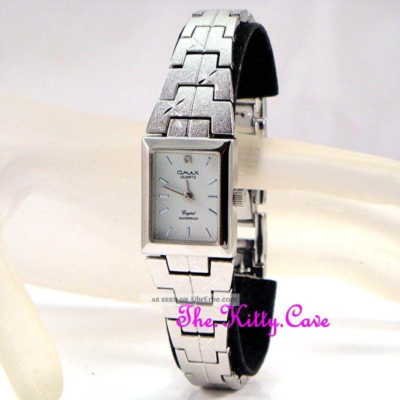 Damen Omax Wasserdichte Silber Rhodium Plattierte Chic Diamantschliff Armbanduhr Armbanduhren Bild