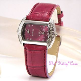 Designer Himbeere Silber Damen Uhr Doppelzeit Mit Swarovski Kristallen Bild