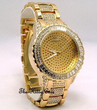 Unisex Vergoldete Rapper Ice Gem Zuhälter Bling Baguette Kristall Uhr Bild