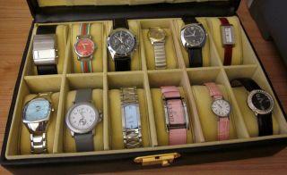 Uhrensammlung 12 Uhren U.  A.  Tissot Gucci Esprit Soliver Chiemsee Im Koffer Bild