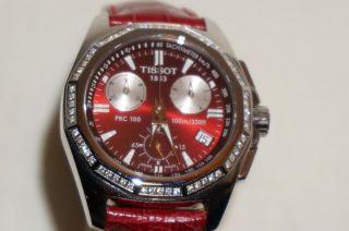 Tissot Prc 100 Chronometer Damenuhr Mit Diamanten Und Echtlederarmband Mit Bild
