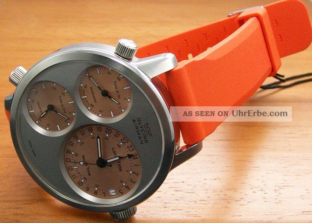 Glycine Airman 7 Silver Circle 3829.  111 Gmt Xxl - Uhr 3x Automatik Werke Armbanduhren Bild