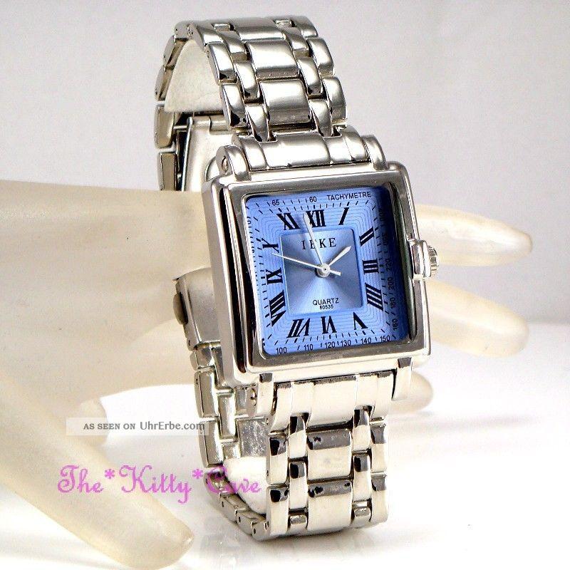Retro Designer Stil Ssilber Rhodium Plattiert,  Blaue Herren Armbanduhr Armbanduhren Bild