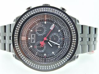 Herren Armbanduhr Joe Rodeo 2 Reihen 1,  75 Kt Diamant Einfassung Schwarz Uhr Bild