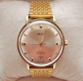 Heika Automatic Uhr 25 Jewels Mit Datum Gold Bild