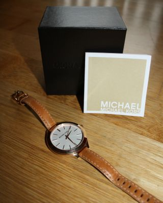 Michael Kors Damenuhr Rosegold W.  Mk2284 Armbanduhr Lederarmband Weihnachten Bild