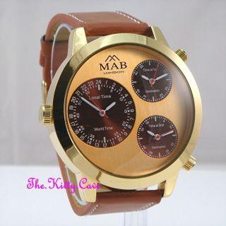 Vergoldete Designer Stil Uhr Mit 3 Zeitzonen Braunes Lederarmband Bild