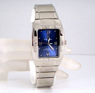 Herren Armbanduhr 2 Farbig Design Silber Rhodiniert Marine Blau Retro Bild