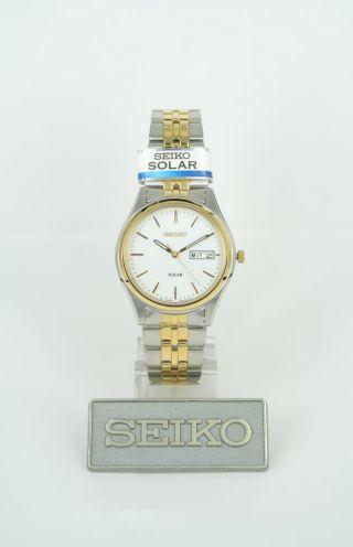 Seiko Herren Uhr Quarz Solar (sne032p1) Armbanduhr Bicolor Hardlexglas Datum Bild