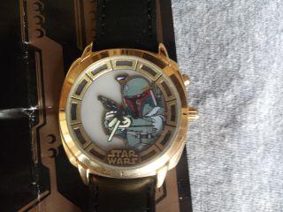 Fossil Uhr 20 J.  Star Wars 1997 Limited Edition Boba Fett Vergoldet Nr.  0863/1000 Bild