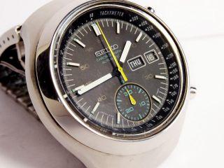 Vintage Seiko Automatic 6139 7100 Black Helmet Chronograph - Bestzustand Bild