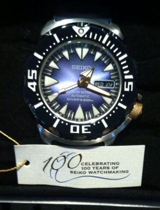 Seiko Blue Monster Limited Edition Srp455k1 100th Aniversary Automatic Divers Bild