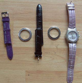 Armbanduhr Madison Ny Chronograph Pink Lila Schwarz Leder Bild